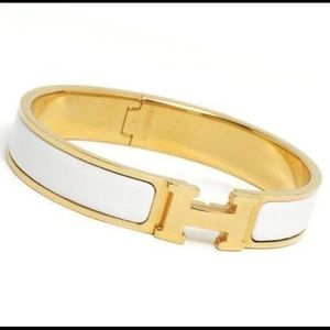 White and Gold Clic Clac H Bracelet